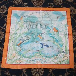 Vintage Hermes Au Bord de l'Eau 90cm Orange Border Silk Scarf - Dry Cleaned