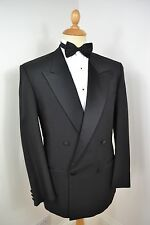 VINTAGE BLACK 2 PIECE POLYESTER TUXEDO SUIT JACKET LARGE 42 REGULAR