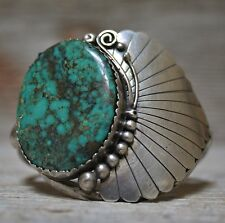BEAUTIFUL VINTAGE  NAVAJO NATIVE  TURQUOISE CUFF BRACELET STERLING SILVER