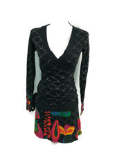 Desigual Womens Black Multicolor Ultra Flor Faux Wrap Cotton Dress XS
