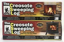 TWO (2) CREOSOTE SWEEPING LOGS Treats Cleans Build-up Fireplaces Stoves- NEW