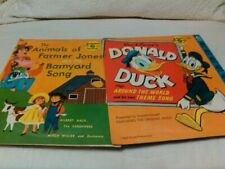 Vintage Little Golden Records Donald Duck Around the World & The Animals of Farm