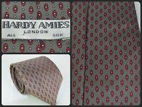 "Vtg Hardy Amies Silver & Red Framed Floral Skinny Neck Tie For Work 56"" SILK"