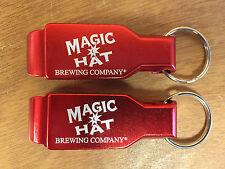 Magic Hat Bottle Opener Key Ring Red Aluminum - 2 Pk -  Brand New - Free Ship