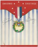 World War II Holiday Christmas Card for My Sweetheart in the American Army