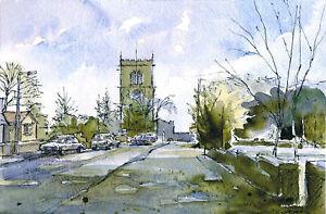 Darfield Church GREETINGS CARD Steve Greaves Watercolour Art Card Landscape