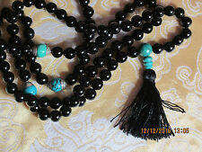 ELEGANT CUSTOM DESIGN GENUINE BLACK ONYX TURQUOISE MALA TIBETAN BUDDHIST USA
