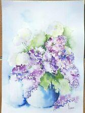 """Aquarelle originale  ,nature morte, Fleurs """"Bouquet de lilas"""""""