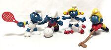 "Peyo Vintage Lot 4 Sports Soccer Hockey Tennis Skating Smurf 2"" Toy Figures EUC"