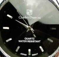 Men Watch Charles Dumont Black Faceted Crystal WR Analog Quartz New Battery Runs