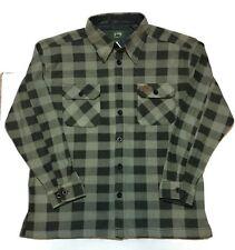 Stillwater Supply Fleece Shirt Jacket XL Moss Green Buffalo Plaid Lumberjack