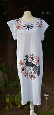 VTG 1970s Indian Cotton Cheesecloth Embroidered Peacock Maxi Smock Hippy Dress