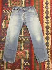 VINTAGE LEVI'S 501xx 1990s JEANS 34 X 33 DISTRESSED FADED BLUE SURF SKATE