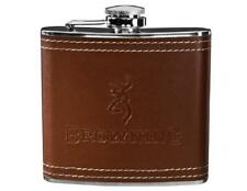BROWNING Buckmark BROWN LEATHER 6-oz FLASK Polished Stainless Steel Pocket *NEW