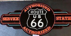XXL Blechschild: Route 66 Service Station - 60 x 28 cm