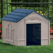 Lg Outdoor Dog House Deluxe Water Resistant Durable Raised Floor Personalized