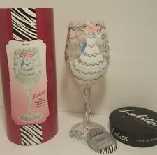 "NEW LOLITA ""BRIDE"" HAND PAINTED BRIDE 15 oz WINE GLASS WITH BOX"