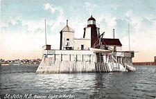 St John New Brunswick Canada view of Beacon Light in harbor antique pc Z19978