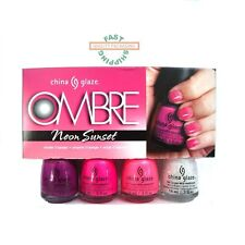 China Glaze Nail Polish Ombre Neon Sunset 4 pc + sponges ORDER BY 10 AM !!!