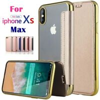 For iPhone XS MAX XR X 8 7 6 Slim Leather Wallet Flip Cover Clear Back Soft Case