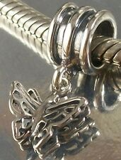 STERLING SILVER Filigree BUTTERFLY Design DANGLE European CHARM BEAD oxidised