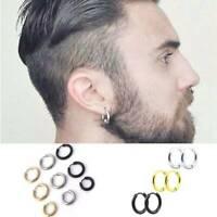 Womens Silver Stainless Steel Mens Punk Tube Hoop Ear Ring Stud Earrings Jewelry