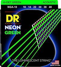 DR NGA-10 Neon GREEN Acoustic Guitar Strings gauges 10-48