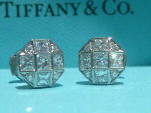 TIFFANY & CO. MOSAIC 1.17CTW DIAMOND PLATINUM EARRINGS NEW IN BOX RARE