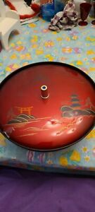 3 Section Oriental Lacquered Footed Candy Dish With Lid
