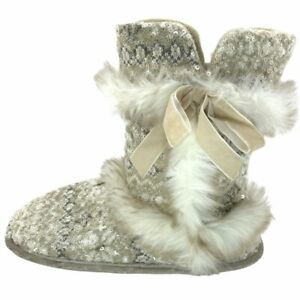 Dearfoams Womens Booties Slippers Beige Fair Isle Faux Fur Sequins Large 9-10