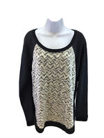 NEW Maurices Women White/Black Zig Zag Long Sleeve Pullover Sweater Sz XL