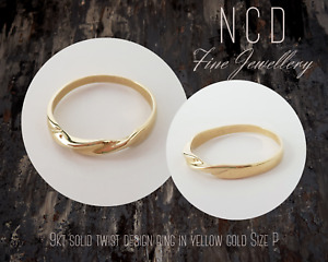 NC Designs NEW Genuine 9kt solid twist design ring in yellow gold Size P