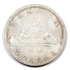 Canada Elizabeth II Crowned Bust Voyageur Canoe $1 1966 Large Beads AU Km64.1