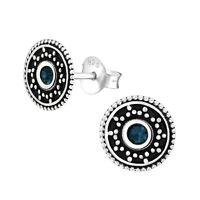 925 Sterling Silver Montana Crystal Circle Stud Earrings (Design 40)