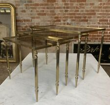 MID CENTURY BRASS SET OF NEST OF TABLES
