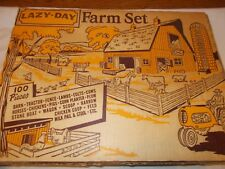 VINTAGE NEW MARX TOYS 3933 LAZY DAY FARM SET WITH OVER 100 PIECES