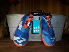 ZOE AND ZAC BOYS TODDLER WATER POOL SHOES SIZE 11 BLUE CAMOUFLAGE ORANGE SOLE