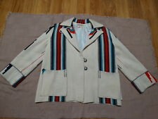 Vintage 40's 50's Ganscraft Chimayo Blanket Cream Wool Jacket  SZ 14