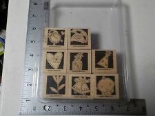 STAMPIN UP OCCASIONALLY BABY HEART HAT WOOD MOUNTED RUBBER STAMP SET EUC A4791