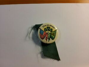 Vintage (OLD!) Erin Go Bragh Irish American Pin Back Button with Ribbon