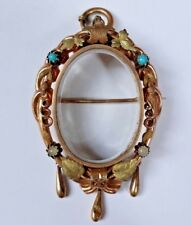 Picture Photo Holder Gold Pl. 19c Antique Old Victorian Brooch Pin Pendant Glass