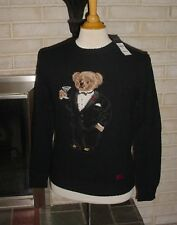 New Polo Ralph Lauren Tuxedo Martini Teddy Bear Wool Sweater Small