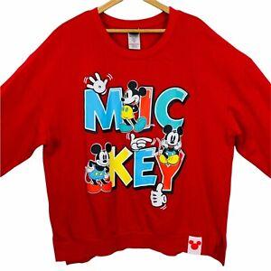 Disney Mickey Mouse Red Long Sleeve Crew Neck Sweatshirt Mickey Logo Size XXL Y