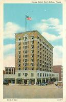 Linen Postcard Sabine Hotel Port Arthur Texas TX Street View Old Cars B860