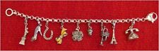 MIMCO Sterling Silver Charm Bracelet + 9 Charms Telephone Bow Eiffel Tower Shoe