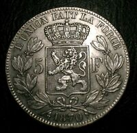 Old Belgium Coins Silver 1870 Highgrade 5 Francs