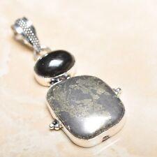 "Handmade Apache Gold Natural Gemstone 925 Sterling Silver Pendant 2.25"" #P14516"
