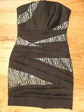 NWOT SEQUIN HEARTS WIGGLE PENCIL HOLIDAY HOMECOMING BLACK ZEBRA DRESS 5