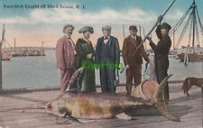 Postcard Swordfish Caught off Block Island RI 1918