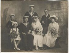 UK Navy WW1 Social History Wedding Photograph Sailors from HMS Inflexible c.1914